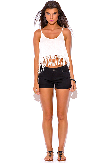 $9 - Cute cheap black sleeveless cut out caged bustier poacketed harem sexy clubbing jumpsuit - black mid rise rolled cuff shorts