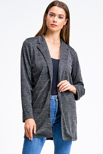 $20 - Cute cheap urban - Black lurex metallic knit long sleeve single button sexy party blazer jacket top