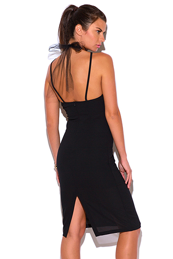 $15 - Cute cheap backless asymmetrical cocktail dress - black crepe mesh choker bow tie cocktail party pencil sexy club midi dress