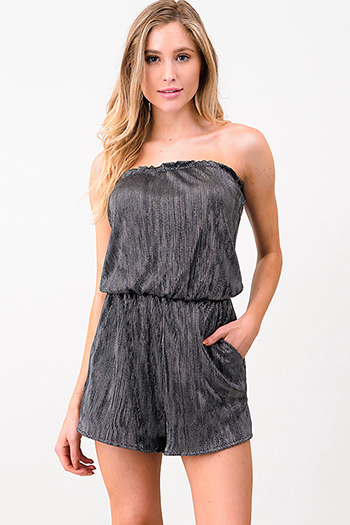 $15 - Cute cheap khaki beige stripe ribbed knit spaghetti strap cut out back boho romper playsuit jumpsuit - Black metallic micropleat strapless pocketed sexy club romper jumpsuit