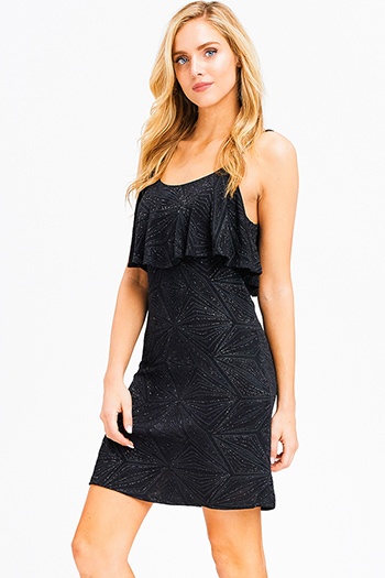 $12 - Cute cheap black crochet lace sheer mesh open back bodycon fitted cocktail party mini sexy club dress - Black metallic shimmer abstract print sleeveless ruffle tiered cocktail party mini dress