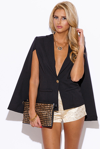 $30 - Cute cheap black sheer stripe mesh contrast asymmetrical zip up moto blazer jacket top 1461019250020 - black military button cape jacket suiting blazer top
