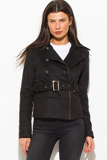$25 - Cute cheap black long sleeve jumpsuit - Black military long sleeve double breasted belted peacoat wool jacket