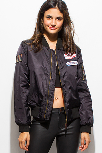 $25 - Cute cheap black military zip up pocketed patch embroidered puff bomber jacket