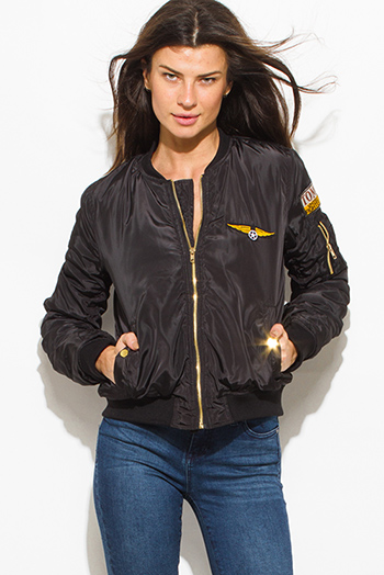 $30 - Cute cheap black military zip up pocketed patch embroidered puff bomber jacket