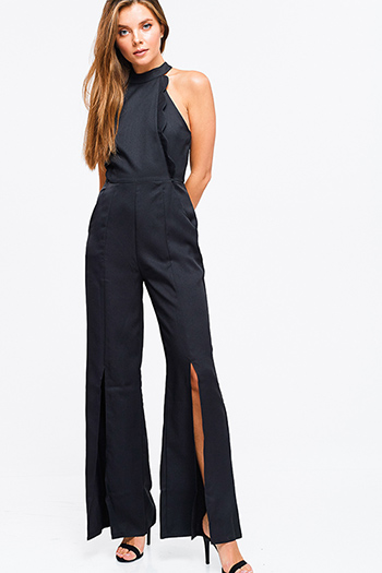 $25 - Cute cheap open back fitted sexy party catsuit - Black mock neck scallop trim sleeveless slit wide leg pocketed evening party jumpsuit