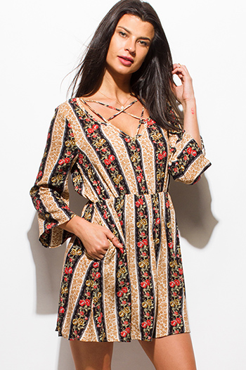 $10 - Cute cheap boho wrap dress - black multicolor striped floral print caged front long sleeve pocketed open back boho mini dress