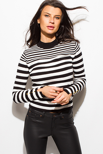 $15 - Cute cheap black long sleeve faux leather patch ribbed slub tee shirt top - black striped long sleeve golden button sweater knit top