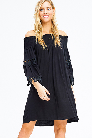 $12 - Cute cheap blue ruched sexy club dress - black off shoulder long bell sleeve crochet lace trim boho mini dress