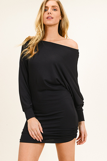 $15 - Cute cheap black bell sleeve dress - Black off shoulder long dolman sleeve ruched fitted sexy club mini dress