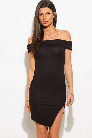 $15 - Cute cheap black satin bejeweled dress - black off shoulder side slit bodycon fitted sexy club midi dress