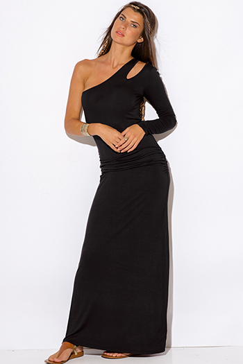 $15 - Cute cheap crepe wrap evening dress - black one shoulder cut out sleeve ruched fitted evening maxi dress