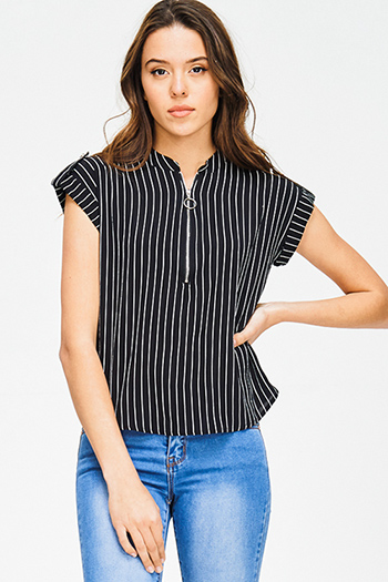 $15 - Cute cheap blue stripe embroidered quarter sleeve button up boho blouse pinstripe top - black pinstripe collarless short cuffed cap sleeve zip up blouse top