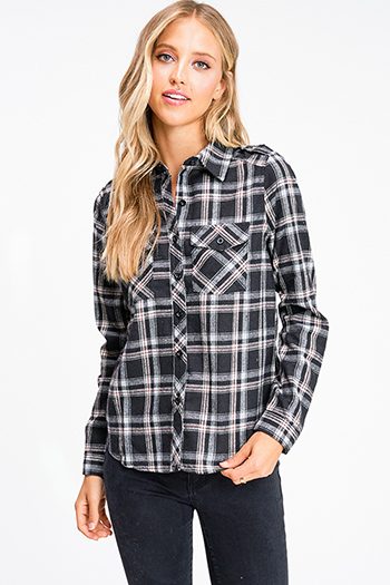 $20 - Cute cheap rust red thermal knit long sleeve crop boho button up top - Black plaid flannel long sleeve button up blouse top