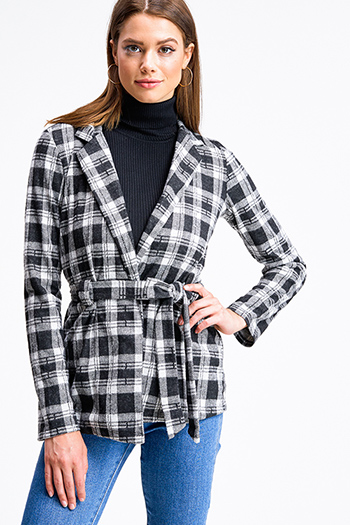 $20 - Cute cheap white asymmetrical hem quarter sleeve zip up fitted blazer jacket top - Black plaid flannel long sleeve open front belted coat jacket top