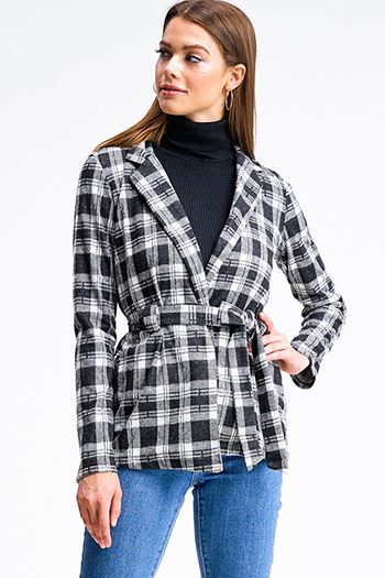 $15 - Cute cheap white denim long sleeve button up lined pocketed jean jacket - Black plaid flannel long sleeve open front belted coat jacket top