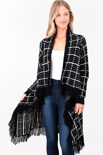 $25 - Cute cheap print fringe jacket - black plaid fuzzy knit waterfall draped fringe trim open front boho sweater cardigan