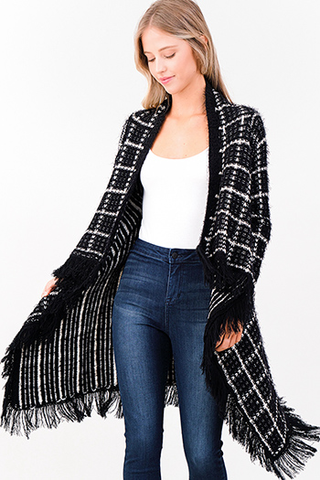 $25 - Cute cheap black draped boho cardigan - black plaid fuzzy knit waterfall draped fringe trim open front boho sweater cardigan