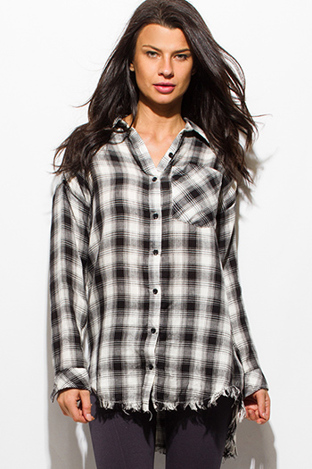 $13 - Cute cheap print off shoulder top - black plaid print flannel long sleeve frayed hem button up blouse tunic top