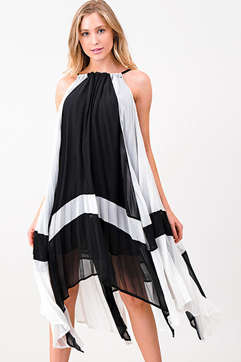$20 - Cute cheap black sheer stripe mesh low v neck bodysuit bodycon midi dress - Black pleated chiffon halter waterfall asymmetric hem resort midi dress