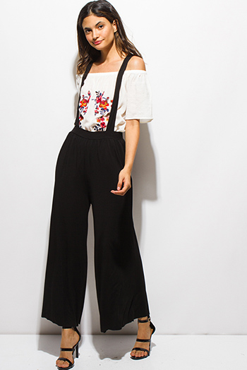 $15 - Cute cheap white embroidered scallop crochet lace hem criss cross back boho tank top - black suspender criss cross back wide leg boho culotte pants