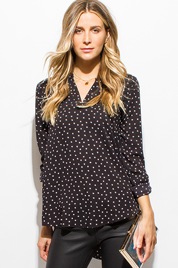 $15 - Cute cheap lace long sleeve tunic - black polka dot print indian collar long sleeve boho top