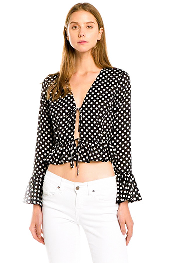 $25 - Cute cheap white low neck short sleeve slub tee shirt top - black polka dot print tie front long sleeve ruffle hem boho crop blouse top