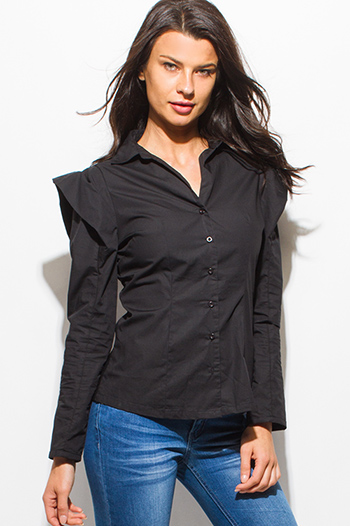 $15 - Cute cheap black power shoulder long sleeve fitted button up blouse top