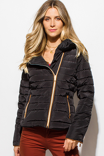 $35 - Cute cheap black mandarin collar long sleeve zip up fitted jacket crop top - black quilted faux fur lined asymmetrical zip up puffer bomber jacket