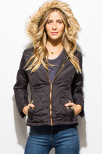 $15 - Cute cheap dark olive green quilted faux fur lined asymmetrical zip up puffer bomber jacket - black quilted long sleeve zip up pocketed faux fur lined hooded zip up puffer jacket