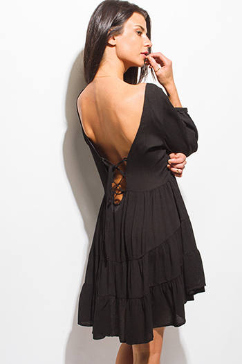 $15 - Cute cheap caged backless fitted dress - black rayon gauze laceup backless tiered boho mini dress