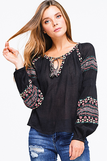 $15 - Cute cheap lace boho tank top - Black rayon gauze long blouson sleeve embroidered boho peasant top