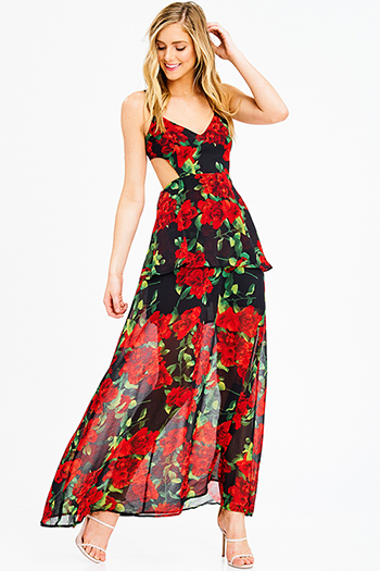 $30 - Cute cheap coral pink floral print ruffle a line skater boho mini sun dress - black red rose floral print chiffon sleeveless cut out backless tiered evening maxi sun dress
