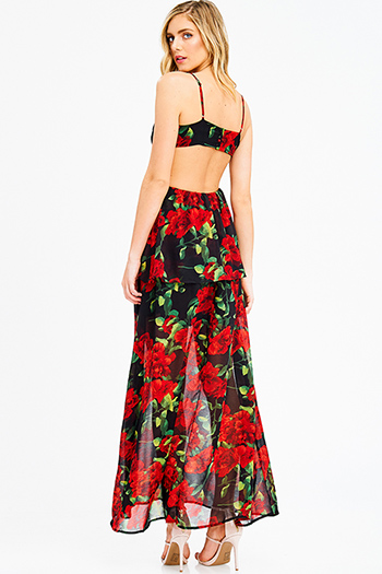 $25 - Cute cheap print backless maxi dress - black red rose floral print chiffon sleeveless cut out backless tiered evening maxi sun dress