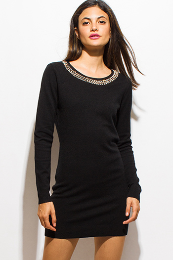$20 - Cute cheap gray lace mini dress - black rhinestone bejeweled long sleeve bodycon fitted sweater knit mini dress