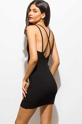 $20 - Cute cheap caged backless fitted dress - black ribbed knit double spaghetti strap criss cross backless mini sexy club dress