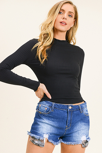 $15 - Cute cheap hart blue washed denim ripped distressed mid rise fitted crop capri skinny jeans - Black ribbed knit lettuce hem long sleeve fitted mock neck basic top