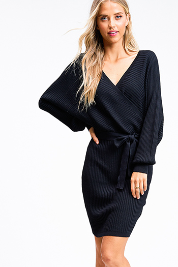 $30 - Cute cheap black long sleeve exposed stitch pocketed open front sweater cardigan - Black ribbed knit long dolman sleeve surplice faux wrap belted sweater mini dress