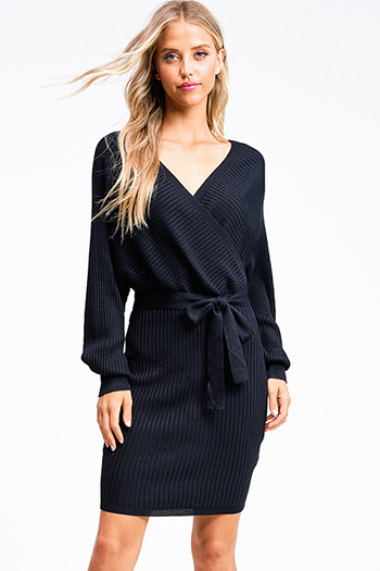 $30 - Cute cheap boho quarter sleeve dress - Black ribbed knit long dolman sleeve surplice faux wrap belted sweater mini dress