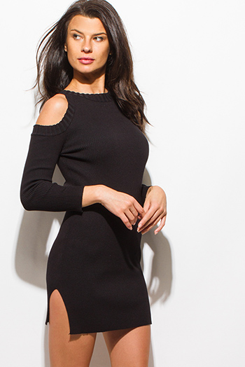 $20 - Cute cheap black ruffle boho dress - black ribbed knit long sleeve cold shoulder sweater knit sexy club mini dress