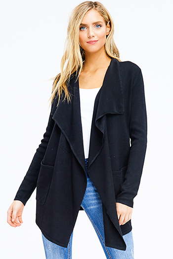 $20 - Cute cheap black peppered textured long sleeve zipper trim sweater knit top - black ribbed knit long sleeve draped collar pocketed open front cardigan
