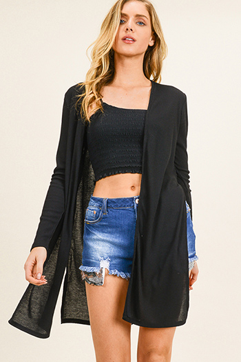 $15 - Cute cheap black long sleeve exposed stitch pocketed open front sweater cardigan - Black ribbed knit long sleeve slit sides open front boho duster cardigan