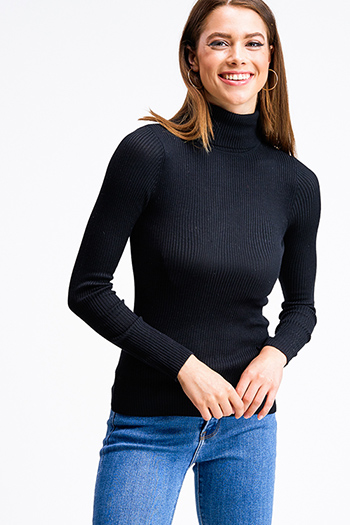 $17.50 - Cute cheap black ribbed knit lettuce hem long sleeve fitted mock neck basic top - Black ribbed knit long sleeve turtle neck fitted sweater top