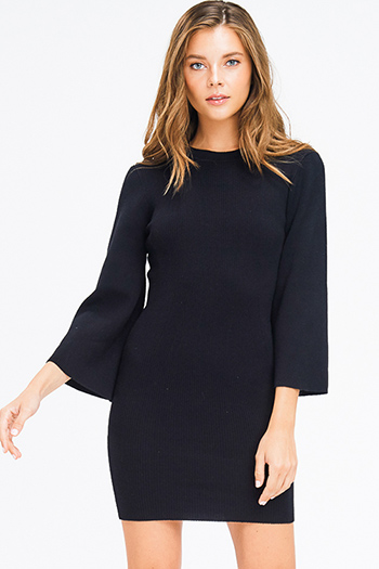 $25 - Cute cheap dark navy blue rhinestone bejeweled long sleeve bodycon fitted sweater knit mini dress - black ribbed knit mock neck long bell sleeve sweater knit boho mini dress