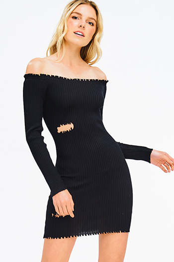 $20 - Cute cheap crepe slit party dress - black ribbed knit off shoulder long sleeve distressed bodycon sexy club mini dress