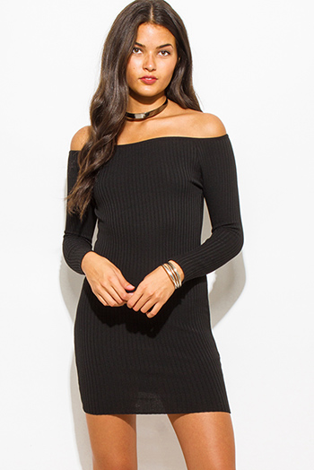 $18 - Cute cheap stripe fitted evening dress - black ribbed knit off shoulder long sleeve fitted bodycon sexy club sweater mini dress