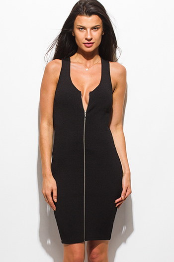 $15 - Cute cheap black crepe dress - black ribbed knit sleeveless zip up bodycon fitted pencil sexy club midi dress