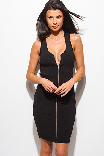 $15 - Cute cheap v neck sexy club mini dress - black ribbed knit sleeveless zip up bodycon fitted pencil club mini dress