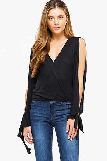 $15 - Cute cheap light blue tencel embroidered off shoulder short sleeve frayed hem boho crop top - Black ribbed knit surplice faux wrap long slit sleeve wrist tie boho top