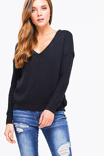 $15 - Cute cheap v neck bodycon catsuit - Black ribbed knit v neck long sleeve sweater top